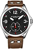 Stührling Original Men's Stainless Steel Sport Aviator Watch, Casual Leather Strap with White Contrast Stitching, 684 Series (Dark Brown)