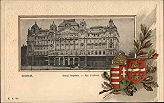The Royal Palace in Budapest, With Coat of Arms Budapest, Hungary Original Vintage Postcard