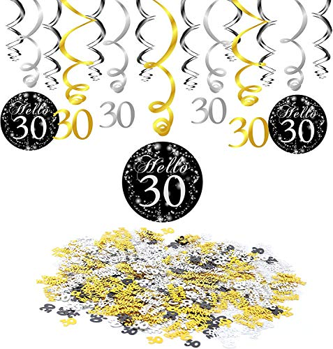 Konsait 30e Anniversaire d¨¦coration, Noir 30e Anniversaire Hanging Swirl (15 pcs), Joyeux Anniversaire & Celebration 30e Table confettis Suspension Tourbillon Plafond Decor pour Anniversaire 30 Ans