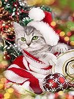 Kesote ダイヤモンドアート 四角型 5Dダイヤモンド塗装キット ダイヤモンドアートツール付き 猫 ねこ クリスマス キラキラ クロスステッチキット ハンドメイド 日本語説明書付き
