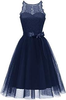 De La Vendimia Princesa Bow CóCtel De Encaje Floral O-Cuello Fiesta Formal Una LíNea Swing Dress Novia Vestidos De Dama De Honor