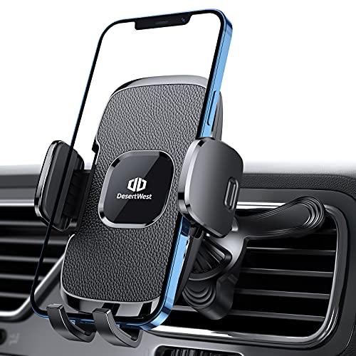 DesertWest 2020 - Soporte para teléfono móvil para la ventilación del Coche, Extra Estable, con Clip de ventilación Universal Patentado, Giratorio 360°, para iPhone, Samsung, Huawei, LG, Xiaomi, etc.