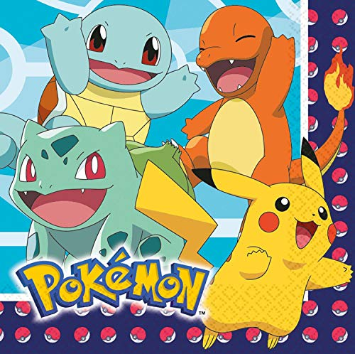 Amscan 9904821 Pokemon Partygeschirr Servietten, 16 Stück