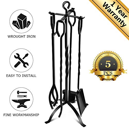 EVOLLY 5 Pieces Fireplace Tools Set 32Inch Heavy Duty Wrought Iron Fire Place Tool Set Fireplace Toolset for Fireplaces, Fire Pits, Hearth Accessories Including Tongs, Shovel, Stand, Poker & Broom