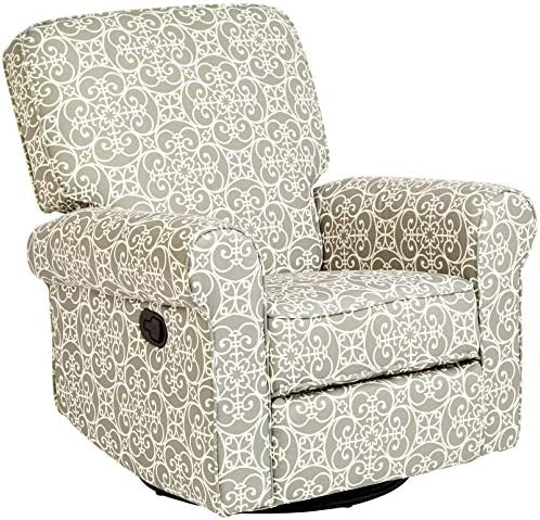 Best JC Home Menet Swivel Glide Recliner with Fabric Upholstery in a Scrollwork Print, Gray and White