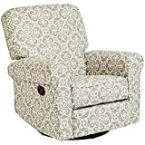 JC Home Menet Swivel Glide Recliner with Fabric Upholstery in a Scrollwork Print, Gray and White
