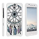 TurtleArmor | Compatible with HTC One A9 Case | HTC Aero Case [Slim Duo] Two Piece Hard Cover Slim Snap On Case on White - Dreamcatcher Feathers