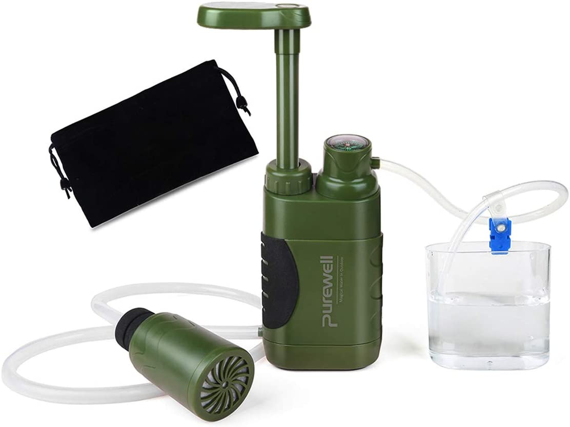 Purewell Water Purifier Pump with Replaceable Carbon 0.01 Micron Water Filter, 4 Filter Stages, Portable Outdoor Emergency and Survival Gear - Camping, Hiking, Backpacking