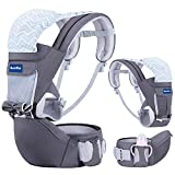 BabyPro Baby Carrier with Hip Seat, 9 Ergonomic Positions, All Season Baby Sling for Newborns Infants Toddlers, Baby Carrier Wrap Backpack for Traveling and Breastfeeding (Dark Grey)