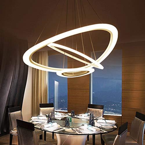 Lámpara Colgante LED para Comedor salón Regulable Diseño de Anillo Lámpara de Techo Moderna Ovalada para Cocina Lámpara de Metal Acrílico para Oficina Lámpara Colgante con Mando a Distancia 3-Ring