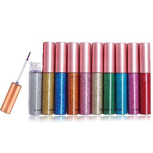 BuguCat 10 Farben Eyeliner Glitzer Set,Augen Makeup Glitter Liquid Pigment Sparkling Lidschatten Wasserdichte Metallic Pinsel Kosmetik Schimmer für Party,Cosplay,Maskerade