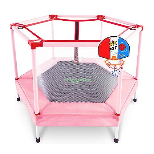 RGFITNESS Trampoline Rebounder 55', Trampolino Indoor Pieghevole con Protezione, Trampolino Mini Fitness per Bambini - Portata Massima 75 kg, Rosa,Pink