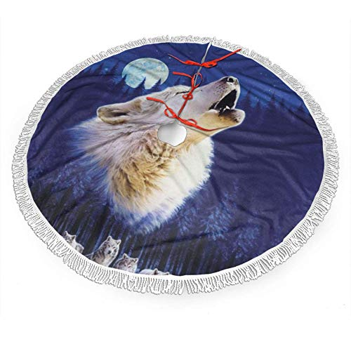 Hangdachang Animal Wolf Butterfly Christmas Tree Skirt Tree Skirt Ornament for Christmas Holiday Decoration 48'