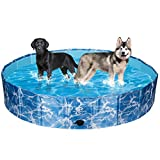 SCIROKKO Foldable Dog Swimming Pool - Portable PVC Pet Bathing Tub Collapsible Kiddie Pool for Outdoor - Extra Large