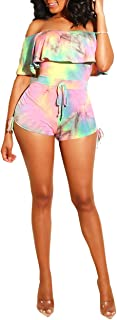 Women's Sexy Off Shoulder Ruffle Sleeve Short Jumpsuit Tie Dye Print Drawstring Rompers Clubwear
