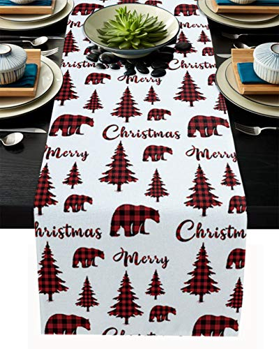 PIEPLE Merry Christmas Tree Bear Cotton Linen Table Runner Baby-Shower, Red Black Checkered Rectangle Tabletop and Dresser Scarves for Wedding/Picnic/Banquet 13' x 70'