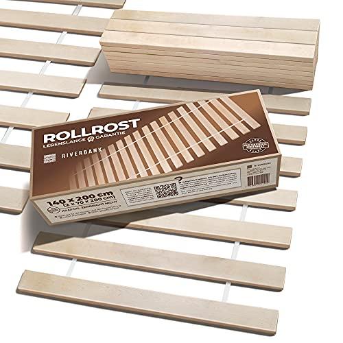 Riverbank Hochwertiger Birkenholz Rollrost Rolllattenrost mit 14 Extra Starken Latten & Hoher Tragfähigkeit | Lattenrost 140x200cm aus Massiver Birke mit hoher Tragfähigkeit | Bettrost 140 x 200