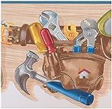 York Wallcoverings Werkzeuggürtel mit Schraubendreher Hammer Schraubenschlüssel Maßband Bohrer Beige Breite Tapetenrand für