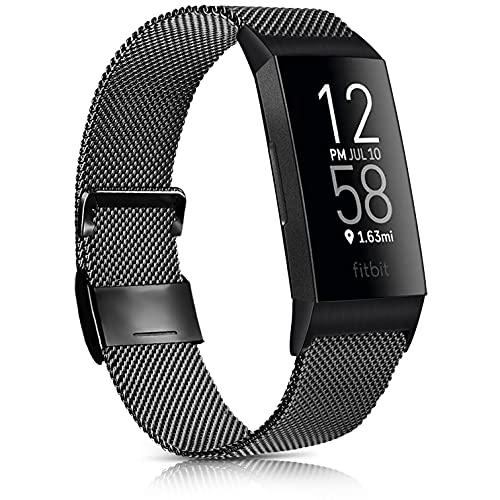 Oumida Bracelet Compatible pour Fitbit Charge 3 Bracelet/ Fitbit Charge 4 Bracelet de Remplacement Métal, Bracelet en Acier Inoxydable Milanais avec Fitbit Charge 3 SE/Fitbit Charge 4 (S, Noir)
