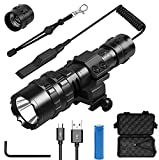 Tactical Flashlight 3000 High Lumens,5 Modes Portable Waterproof LED Weapon Light with Picatinny Rail Mount and Remote Pressure Switch,Rechargeable 18650 Battery and Hexagon Screwdriver,for AR15