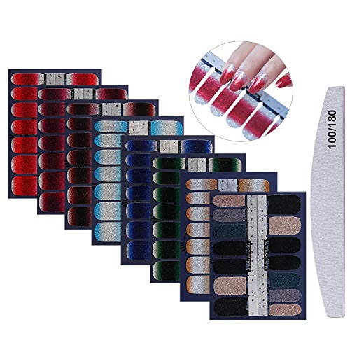 8 Blatt Glitzer Nagelaufkleber, Mwoot Nail Art Aufkleber,Nagelsticker,Design Selbstklebende Maniküre Sticker Schöne Mode DIY Dekoration (112pcs) Nagelsticker