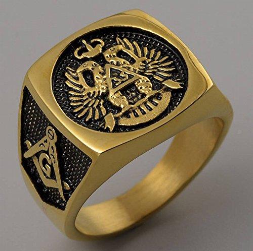 Thumby Retro Gepersonaliseerde Sieraden Titanium Staal Gesneden Vierkant Dubbele Adelaar Mannelijke Ring Vrijmetselaar Ring Roestvrij Staal Geometrische Heren