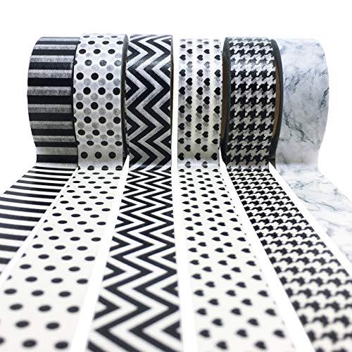 PremiPro Washi-Tape Set Negro Blanco 10 Metros Masking-Tapes o Dekoband para Bodas 6er