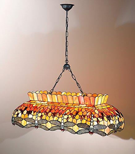 Casa Padrino 647 - Lámpara de techo con cadena (cristal Tiffany, 90 x 48 cm, doble bombilla E27 máx.), color rosa y naranja Perenz T 665S - Lámpara de techo (100 W)