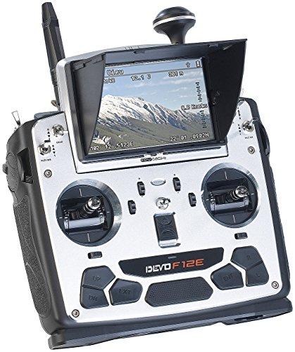 Simulus Zubehör zu Fernsteuerung Drohne: Profi FPV Funk-Fernsteuerung DEVO F12E 5,8 GHz (Drohne mit Funk-Fernsteuerung)