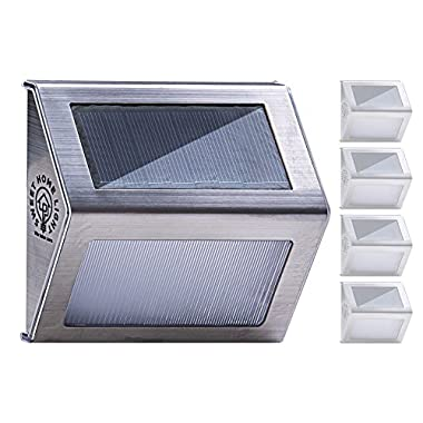 Solar Step Lights Outdoor Waterproof with 3 led lights, mini Solar Stair Lights for Garden Deck Fence or Patio from SweetHomeLight, 4 pack