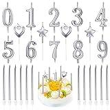 PUDSIRN - Juego de 26 velas de cumpleaños con números, 10 piezas de decoración de tarta con purpurina número 0-9 con 16 velas de cumpleaños de corazón, estrella y largo (plateado)