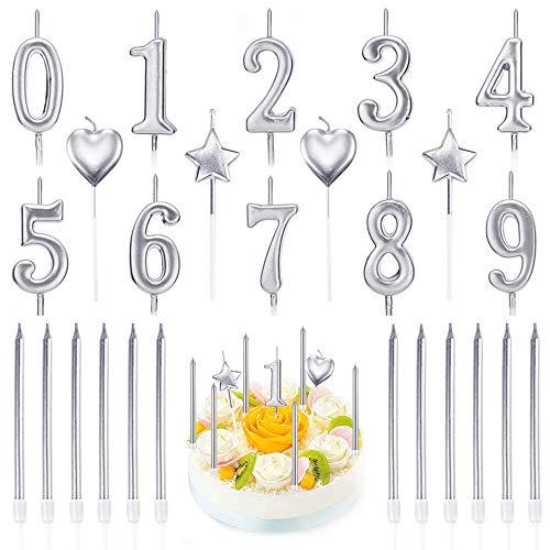 PUDSIRN Set di Candele con Numeri di Compleanno da 26 Pezzi, 10 Pezzi di Decorazioni per Torta con Glitter Numero 0-9 con 16 Candele di Compleanno a Forma di Cuore (Argento)
