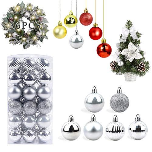 WELLXUNK Bolas de Navidad, 36 Bolas de Decoración Navideña, Bolas de Adornos Navideños BrillantesNavideño para Colgar en la Pared Adornos (Plata)