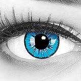 1 par de lentes de contacto de color azul negro 'Kami'. Cómodo y perfecto para el carnaval de Halloween, cosplay de anime, suave, sin dioptrías + estuche para lentes de contacto
