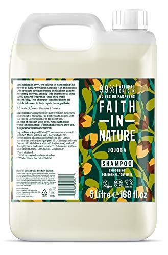 Faith in Nature Natürliches Jojoba Shampoo, Glättend, Vegan & Ohne Tierversuche, Frei von Parabenen und SLS, für Normales bis Trockenes Haar, 5 L Nachfüllpackung