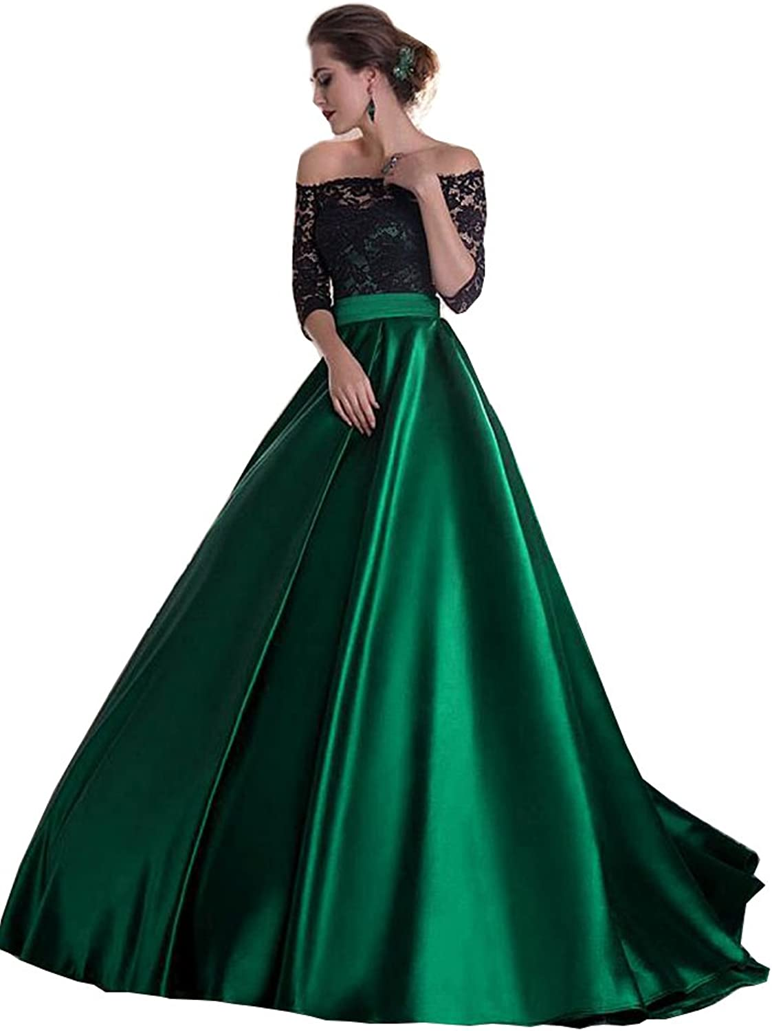 Chenghouse Satin Prom Dresses Off The Shoulder Half Sleevs Lace Prom Gowns