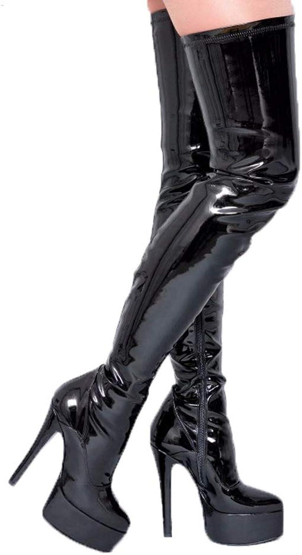 T -JULY Kvinnor Sexiga över över över Knee stövlar Platform High klackar Peed Toe Side Zipper Elastisk Thigh Egen Skor  grossistaffär