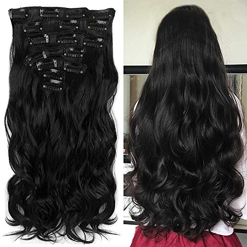 "Neverland 22""Full-Kopf-Klipp in den Haar-Verlangerungen Ombre Wavy Curly Dip Dye 7Pcs 16 Clips Hair Extensions Hairpiece Natural Black"