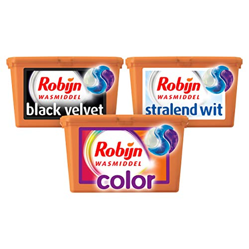 Robijn Wasmiddel 3 in 1 Capsules Kleur, Wit en Zwart 3 x 15 wasbeurten Voordeelverpakking