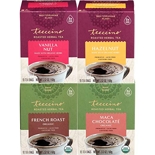 Teeccino Herbal Tea Variety Pack - Vanilla Nut, Hazelnut, Maca Chocolaté, French Roast - Roasted Herbal Tea That's Caffeine Free & Prebiotic for Natural Energy, 10 Tea Bags (Pack of 4)