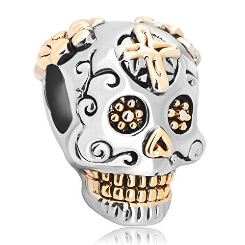LovelyCharms 925 Sterling Silver Skull Charms Dia De Los Muertos Cross Beads Fit Pandora Charm Bracelets