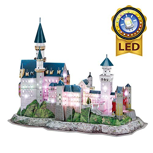 CubicFun 3D LED Neuschwanstein Castle Puzzles for Adults and Kids, Germany Architectures Building Model Kits Toys Gifts for Women and Men, Multi-Color Light 128 Pieces
