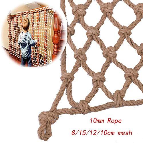 Kinder-Sicherheitsnetz Seil Netz Deko Netz Retro Foto Wand handgewebt Dekoration Treppen Balkon Schutz Outdoor klappbar personalisierbar, Hanf, Beige-10 cm, 2x7m