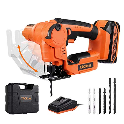 Jigsaw, TACKLIFE 2-in-1 Jigsaw and Reciprocating Saw, 20V 2A Max Cordless jigsaw, with fast charger, 6 blades, Tool-free Blade Change, integrated LED light, comfort grip, hard case- TLJS02D