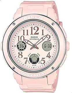 ساعة كوارتز النسائية من كاسيو، عرض انالوج رقمي سوار مطاطي، سوار يد باللون الزهري 150Ef-4B