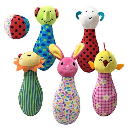 Schimer Mädchen und Jungen, Kegelspiel mit 6 Tierfiguren, Mehrfarbig Kinder Bowling Set Kegelspiel Spiele Boule-Spiele Bowlingkugel Kegel für draußen Spielzeug Kinder