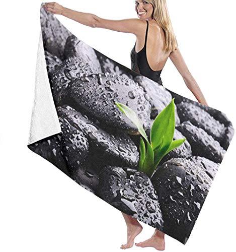 WJSQJ Gotas De Lluvia sobre Roca Toalla De Baño Impresa Microfibra Toalla De Playa De Absorción De Agua Súper Suave Adecuado para Niños Y Adultos Viajes Yoga Natación Y Acampada 80X130Cm