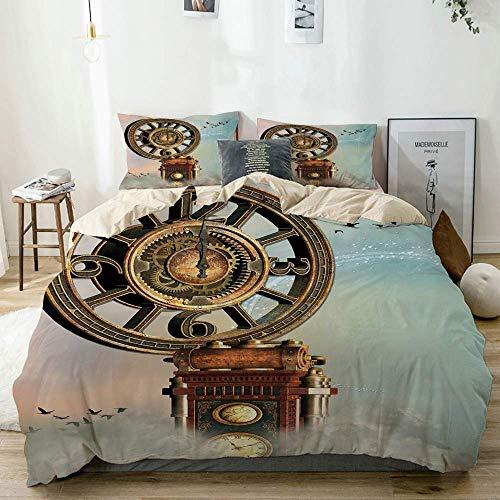 Juego de Funda nórdica Paisaje mágico Encantado Reloj Antiguo Grande Flying Birds Fairytale Beige Juego de Cama Decorativo de 3 Piezas con 2 Fundas de Almohada
