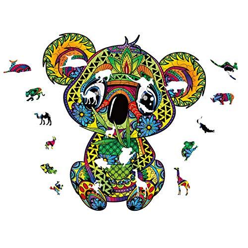 Faxiang Puzzle in Legno, Pezzi di Puzzle con Animali dei Cartoni Animati dalla Forma Unica, Puzzle Koala, Regali Puzzle per Adulti E Bambini, 14,96x16,3 Pollici, 327 Pezzi, L