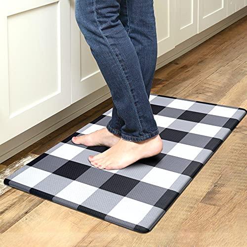 Kitchen Mat Cushioned Anti-Fatigue Floor Mat, Waterproof Non-Slip Kitchen Rug Standing Mat Ergonomic Comfort Floor Mat Rug for Kitchen, Home, Office, Sink, Laundry, Desk (17.7'x30', Black Plaid)